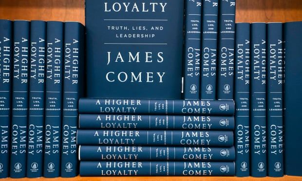 Copies of James Comey's book, A Higher Loyalty: Truth, Lies, and Leadership, line the shelves of a Washington bookstore.