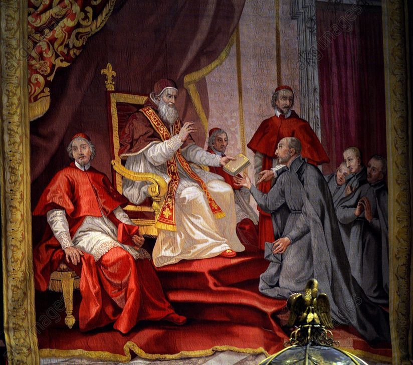 Depiction of Pope Paul III and Ignatius Loyola, founder of the Jesuit Order (also known as the