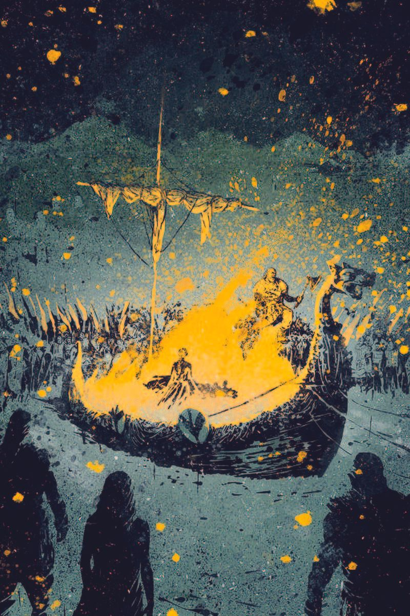 Illustration of a viking funeral, the boat is on fire