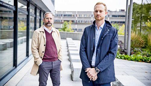 <strong>- USIKKERHETEN RÅDER:</strong> Daglig leder i Creditsafe Per Fjærestad og partner i Fair Group, Christian Aandalen. Foto: Christian Roth Christensen / Dagbladet
