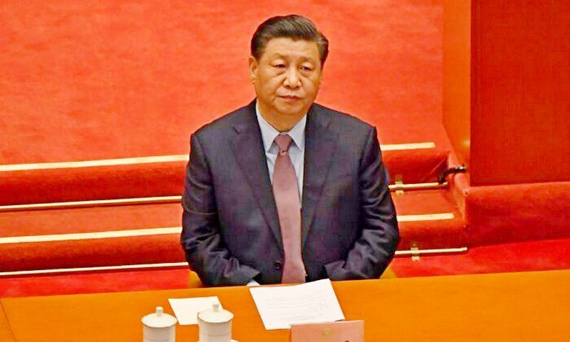 Chinese leader Xi Jinping attends the opening ceremony of the Chinese People's Political Consultative Conference (CPPCC) in Beijing on March 4, 2021. (Leo Ramirez/AFP via Getty Images)