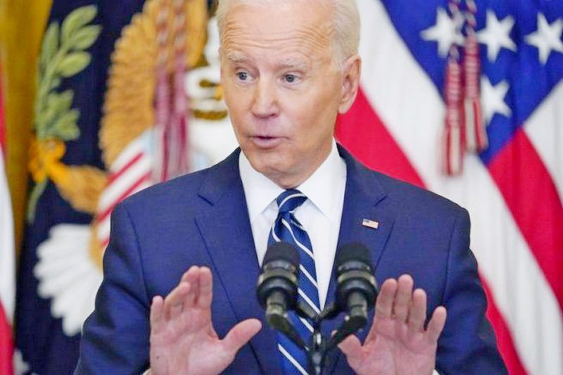 Joe Biden speaks during a news conference in the East Room of the White House in Washington. (AP Photo/Evan Vucci)