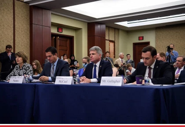 """(From left) Republican Reps. Cathy McMorris Rodgers, Devin Nunes, Michael McCaul and Mike Gallagher speak at a House Republican forum titled """"Led By Science: The COVID-19 Origin Story"""" on Capitol Hill, June 29, 2021."""